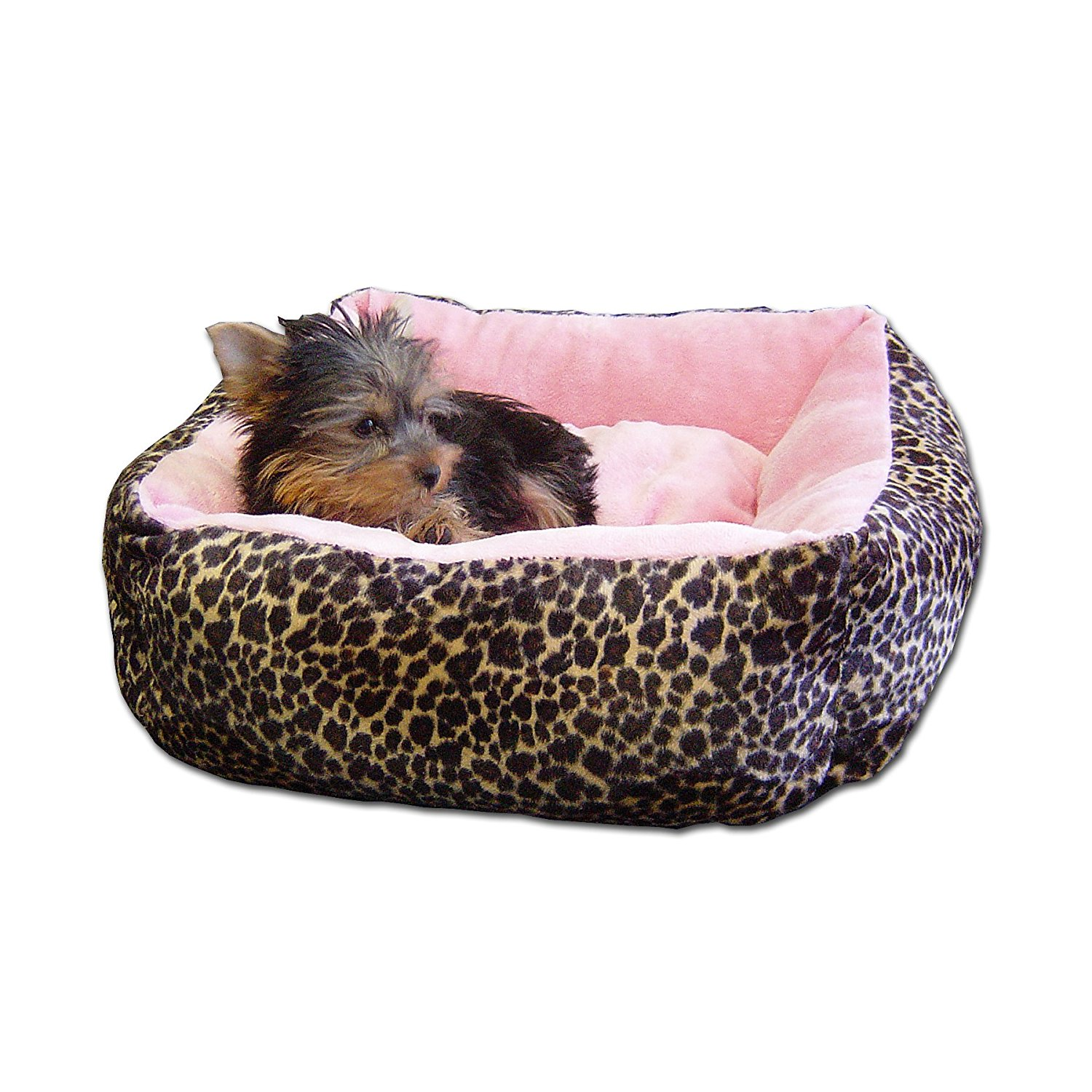 Anima Pink Ultra Plush Leopard Print Bed with Removable Pillow - Well Rested Dog
