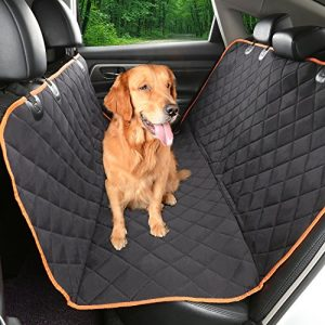"Environmental Dog car seat cover 54""Wx58""L,IKET Patented TPU Hammock Pet Car Seat Cover with non-slip Backing,Orange Trim and Waterproof"