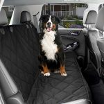 Dog Car Seat Cover – Black Waterproof Non Slip Padded Quilted Protector with Seat Anchors and Heat Straps