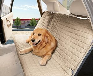 Elegant Comfort Waterproof Premium Quality Bench Car Seat Protector Cover (Entire Rear Seat) for Pets, Beige