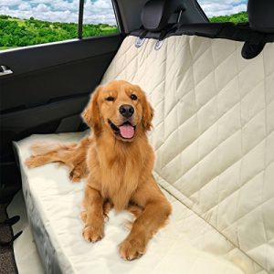 Pet Magasin Luxury Pet Seat Cover for Car Seats – Hammock Style Cover Protects Car Back Seats from Dog Fur, Mud, Scratches – New Beige