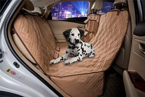 VIEWPETS Tan Dog Car Seat Cover Waterproof Heavy Polyester Non-slip Pet Quilted Hammock Rear Seat Cover