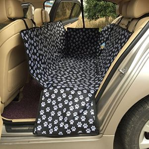 HAOCOO Pet Seat Cover Waterproof and Washable for Cars, SUV, Vans & Trucks (Black-Paw Prints )